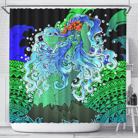 Polynesian Hibiscus Dancing Girl Shower Curtain