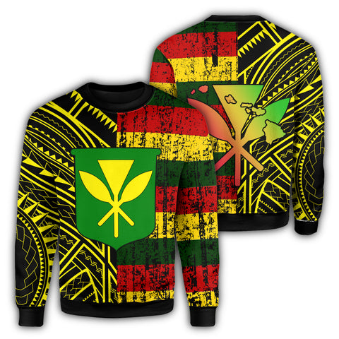 Hawaii Kanaka Flag Polynesian Sweatshirt - Bright Style - AH - JA