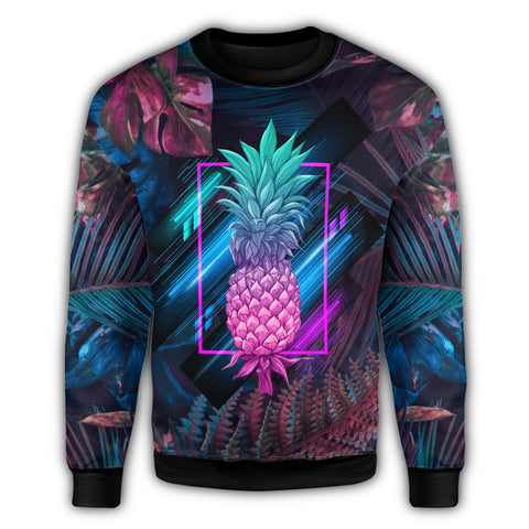 Hawaii Pineapple Kanaka Map Tropical Sweatshirt - Pub Style - AH - JA