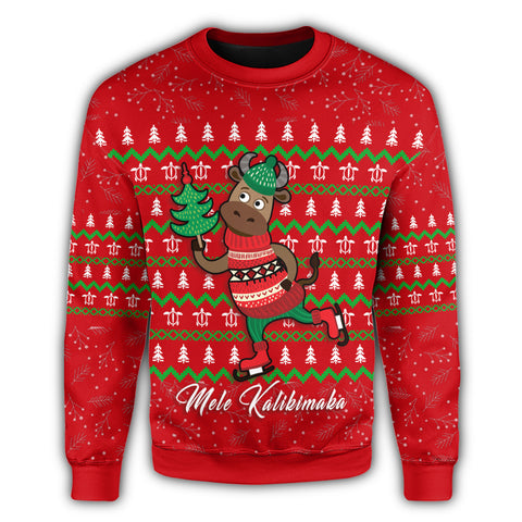 Image of Hawaiian Turtle Christmas Sweatshirt - Red