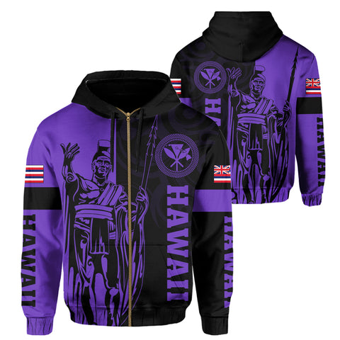 Hawaii King Polynesian Hoodie (Zip-up) - Lawla Style Purple - AH - J4