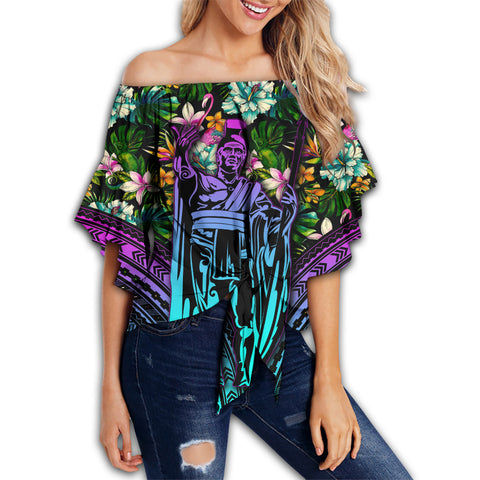 Image of Hawaii King Polynesian Tropical Women's Off Shoulder Wrap Waist - Hors Style - AH - J4