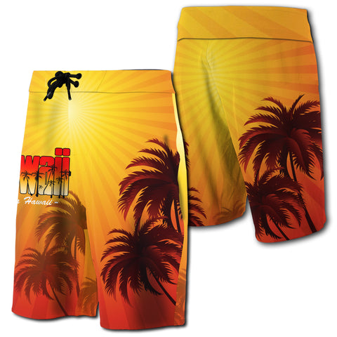Summer Sunshine Coconut Tree Silhouette Hawaii Board Short - AH J4 - Alohawaii