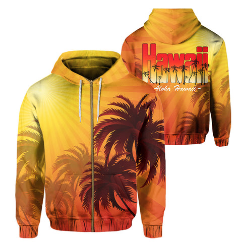 Hawaii Dawn Coconut Tree Hoodie (Zip-up)