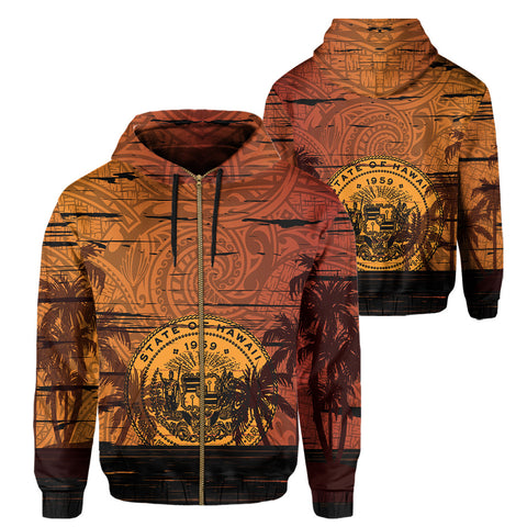 Image of Hawaii Sunset Coat Of arm Polynesian Hoodie (Zip-up)