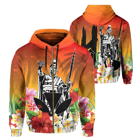 Hawaii Summer King Hibiscus Plumeria Hoodie (Zip-up)