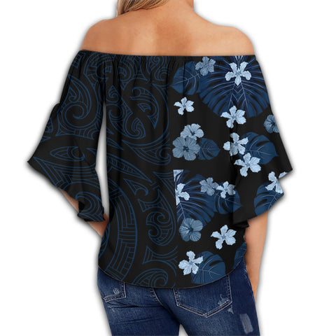 Image of Hawaii Hibiscus Flower Polynesian Women's Off Shoulder Wrap Waist Top - Curtis Style - AH - J2
