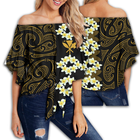 Image of Hawaii Plumeria Polynesian Women's Off Shoulder Wrap Waist Top - Curtis Style - AH - J2
