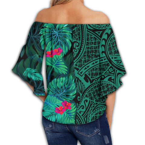 Hawaii Tropical Leaves Polynesian Women's Off Shoulder Wrap Waist Top - Melio Style - AH - J2