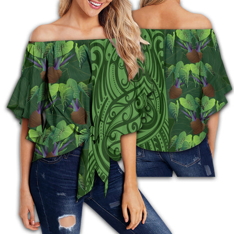 Hawaii Kalo Polynesian Women's Off Shoulder Wrap Waist Top - Melio Style - AH - J2