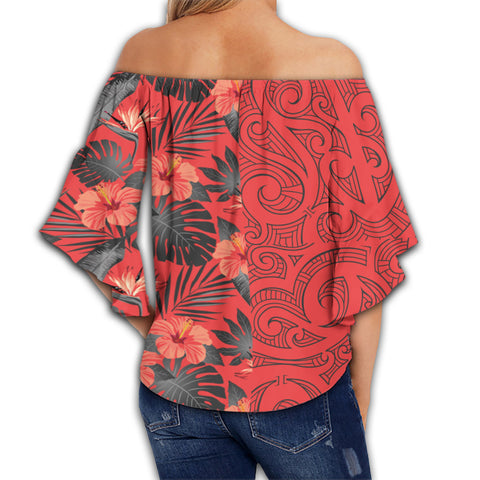 Image of Hawaii Hibiscus Polynesian Women's Off Shoulder Wrap Waist Top - Melio Style - AH - J2
