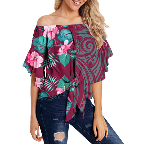 Hawaii Hibiscus Tropical Polynesian Women's Off Shoulder Wrap Waist Top - Melio Style - AH - J2