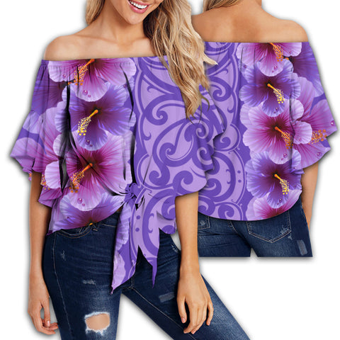 Hawaii Hibiscus Flower Polynesian Women's Off Shoulder Wrap Waist Top - Curtis Style - Purple - AH - J2