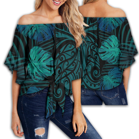 Hawaii Monsteria Leaves Polynesian Women's Off Shoulder Wrap Waist Top - Melio Style - AH - J2