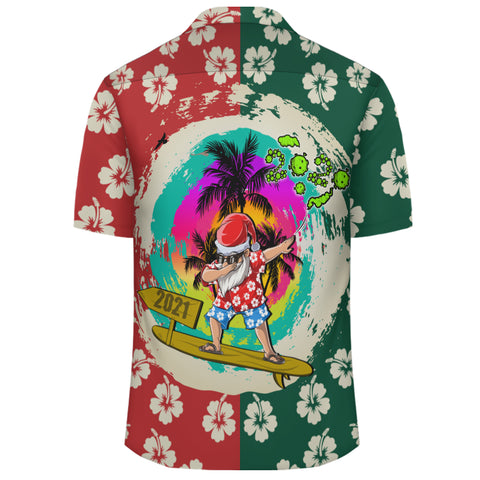 Image of Hawaii Mele Kalikimaka Dabbing Santa Surfing Hawaiian Shirt - AH - JR - Alohawaii
