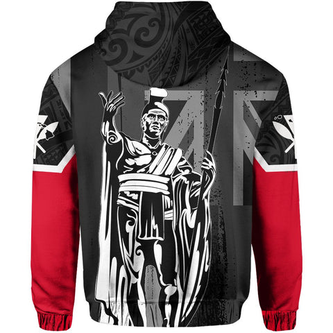 Hawaii King Flag Polynesian Hoodie - Gray - AH J4 - Alohawaii