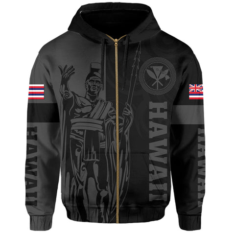 Hawaii King Polynesian Hoodie (Zip-up) - Lawla Style Gray - AH - J4