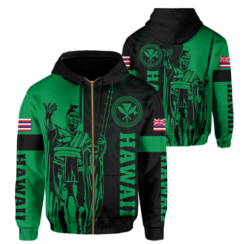 Image of Hawaii King Polynesian Hoodie (Zip-up) - Lawla Style Green - AH - J4