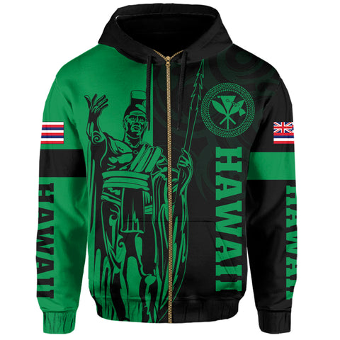 Hawaii King Polynesian Hoodie (Zip-up) - Lawla Style Green - AH - J4