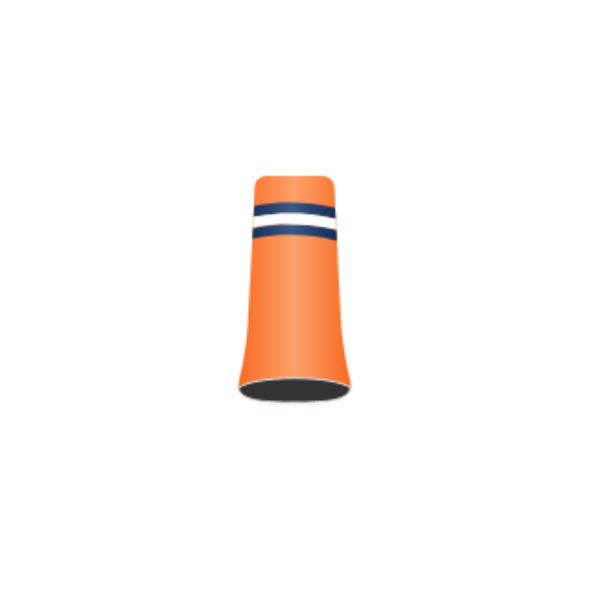 Football Team #10 - Custom Golf Ferrule - Orange Ferrule with pearl-blue, white and pearl-blue rings