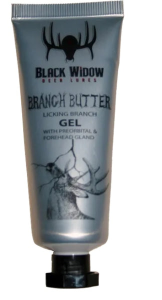 Black Widow BRANCH BUTTER 1.5oz. LICKING BRANCH GEL - Ringtails and Tall Tales Hunting, Dog Supply, and Taxidermy
