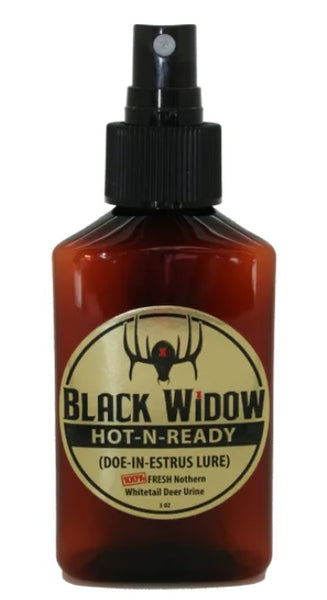 Black Widow Hot-N-Ready 3oz Northern Whitetail Doe Estrus - Ringtails and Tall Tales Hunting, Dog Supply, and Taxidermy