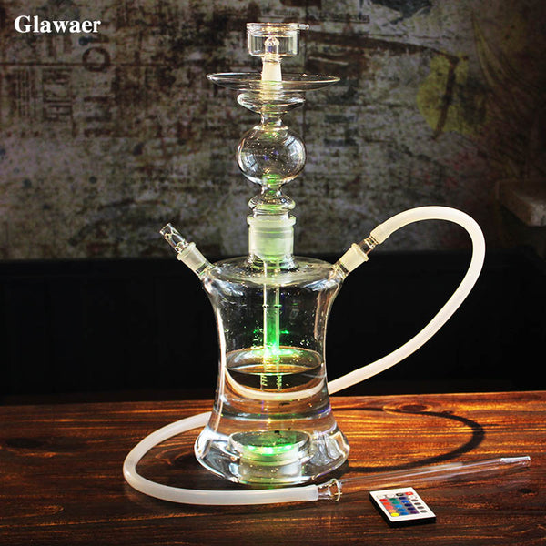 Russian style Glass Hookahs Shisha  High Quality  Remote Multicolor LED Narguile
