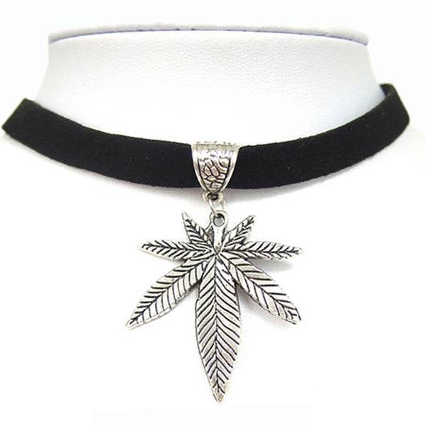 "Black Flat Faux Suede Leather Cord / Silver Pot Gold Weed Leaf Charm 13"" Choker Necklace"