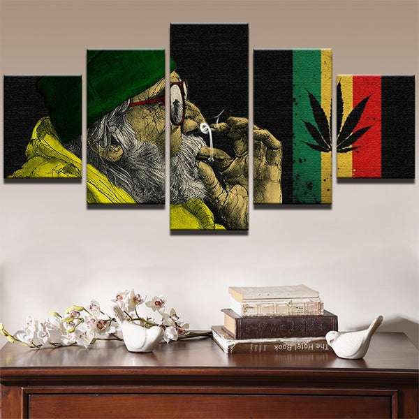 5 Panel Weed Smoke Cloud Landscape Canvas