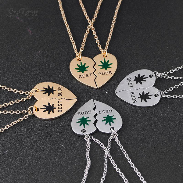 Best Buds Necklace Weed Leaves Enamel Pendant Best Friends Broken Heart Leaf Necklaces