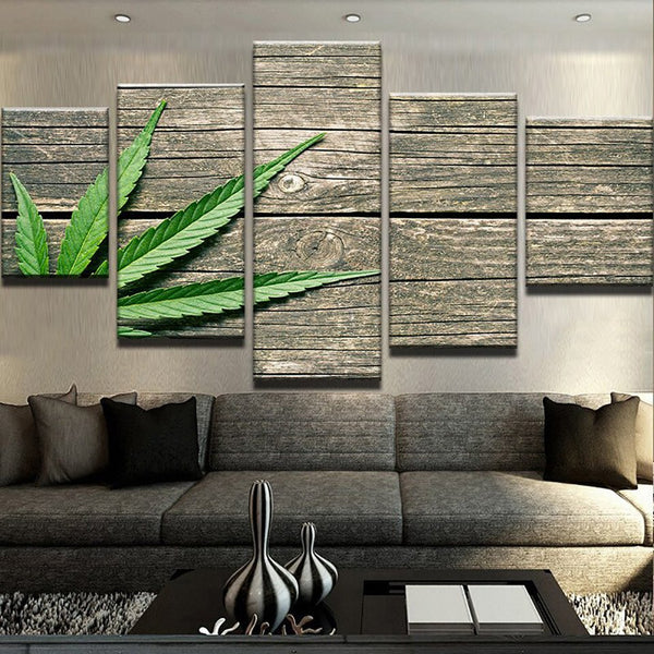 HD Printed On 5 Panel  Canvas Modern Painting Weed Wood Board Modular Picture
