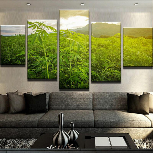 HD 5 Piece Wild Weeds Fields Painting Leaf Poster (No Frame)
