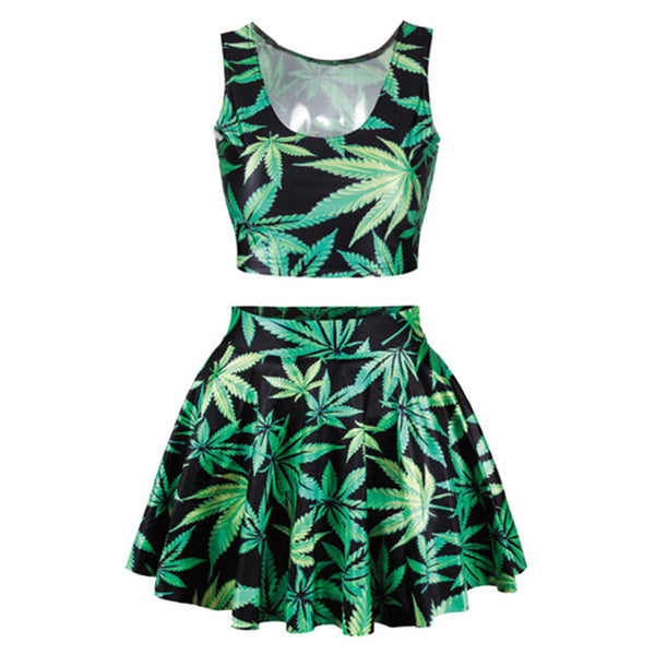 Womens Leaf Skirt And Top Crop 2 Pieces Set
