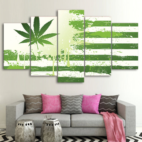 HD printed 5 piece poster weed with american flag green canvas painting