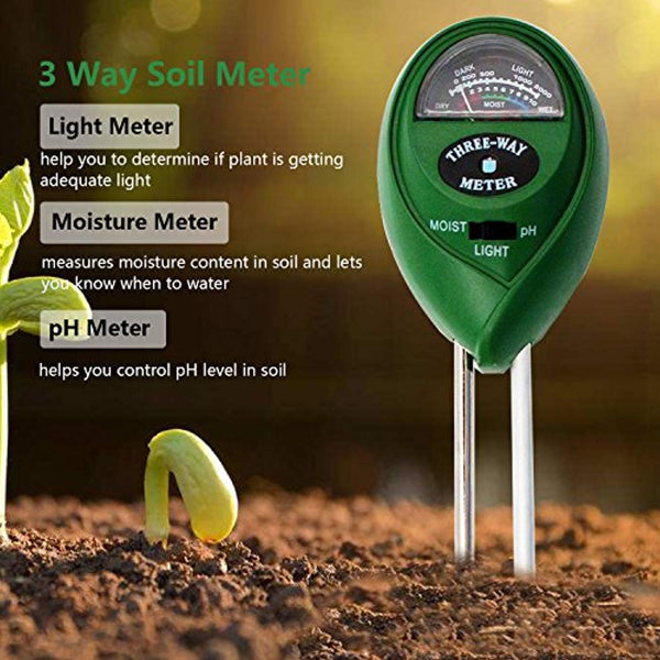 Soil 3 in 1 Moisture / pH / Light Meter (No Battery Needed) @ The Growing Shop