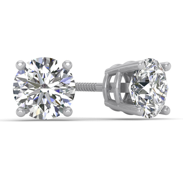 ae6fcce59ea7a 1.00ct TW Certified 14K White Gold Round Diamond Stud Earrings with  Screw-Backs