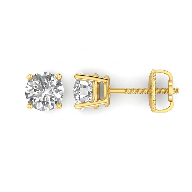 ef4d966e45888 1.00 CT TW Certified 14K Yellow Gold Round Diamond Stud Earrings with  Screw-Backs