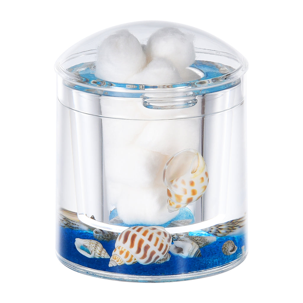 Acrylic Liquid 3D Floating Motion Round Qtip Cotton Ball Swab Holder Dispenser with Lid Shell