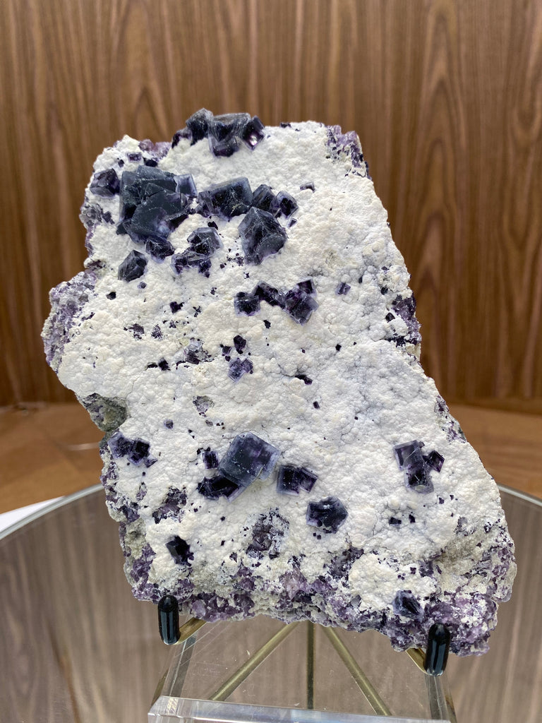 450g 16x12x3cm Dots White and Purple Fluorite from Inner Mongolia, China