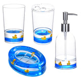 4 Piece Acrylic Liquid 3D Floating Motion Bathroom Vanity Accessory Set Duck