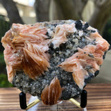 260g 2.3x2.8x1cm Silver Galena Clear Quartz and Pink Barite from Morocco