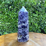 884g 18x7x6cm Purple Banded Chevron Amethyst Point Tower from South Africa - Locco Decor