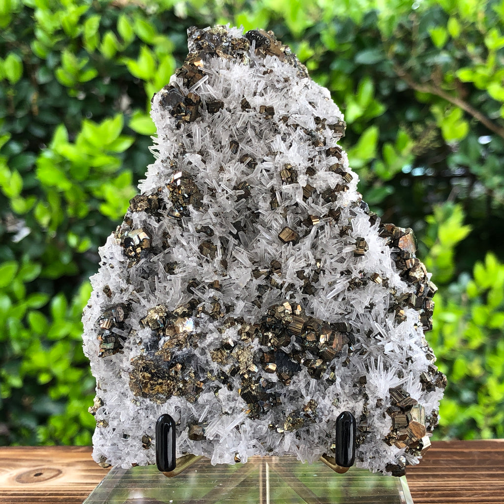 552g 13x9x7cm Gold  Clear Quartz Pyrite with Grey Galena from Huaron, Peru