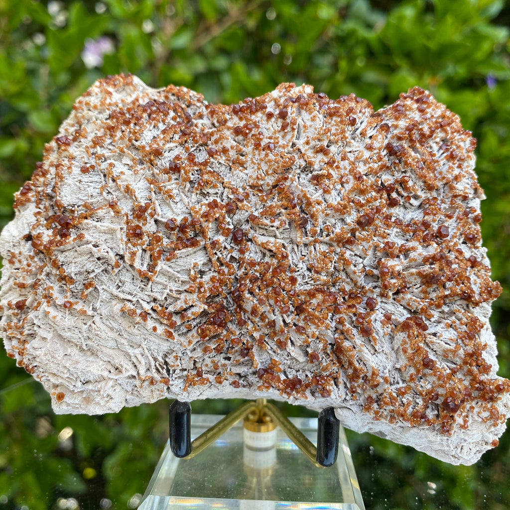 440g 11x9x4cm White Feldspar with Orange Spessartite Garnet from Tongbei, Fujian, CHINA