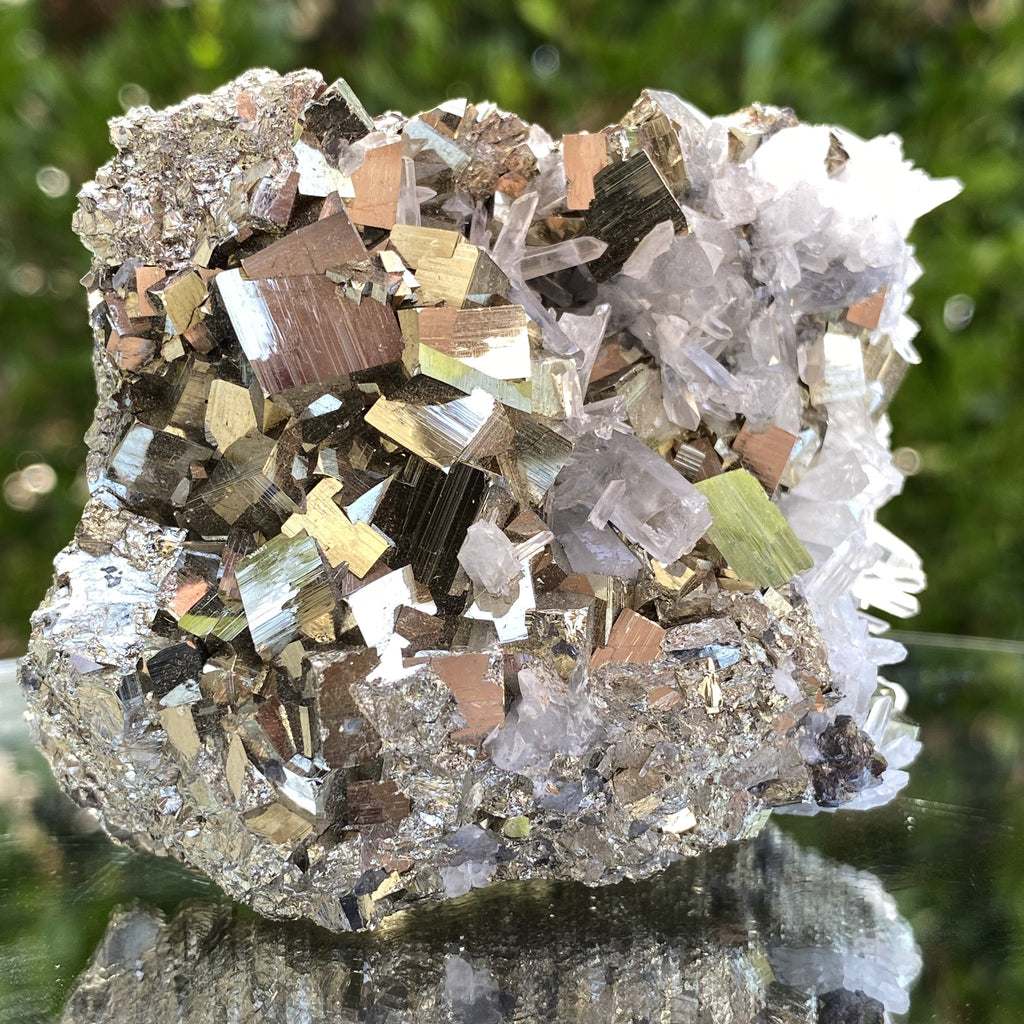 456g 8x7x5cm Gold pyrite with Quartz Galena from Peru - Locco Decor