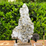 368g 13x5.5x5cm Gold  Clear Quartz Pyrite with Grey Galena from Huaron, Peru