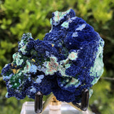 140g 8x4x6cm Rare Super Densed Shiny Blue Azurite w/ green Malachite from Sepon Mine, Laos
