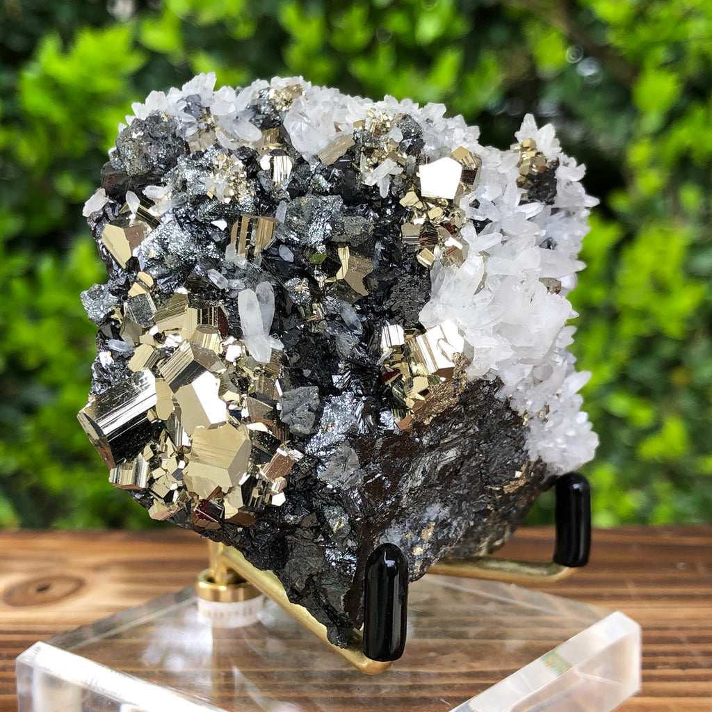 322g 7x7x4.5cm Gold  Clear Quartz Pyrite with Grey Galena from Huaron, Peru