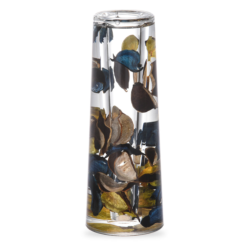 Acrylic Liquid 3D Floating Motion Cylinder Oval Flower Vase Boutique Floral Decoration Blue Gold Leaf