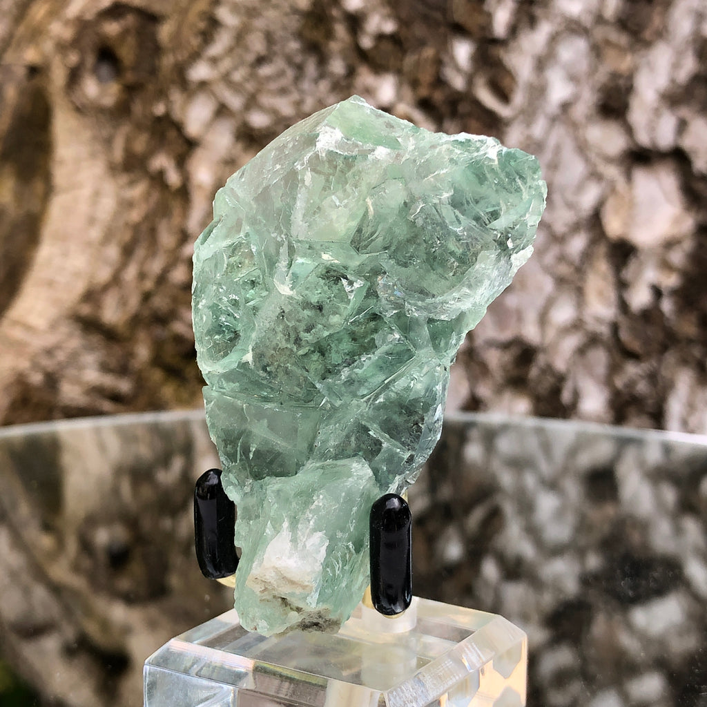 60g 6x5x2cm Glass Green and Clear Fluorite from Xianghualing,Hunan,CHINA